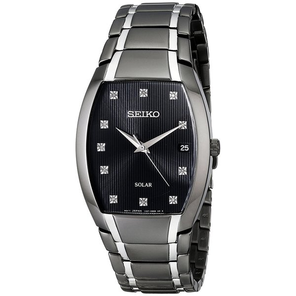 Seiko Men's Solar SNE335 Black Diamond Accent Dress Watch
