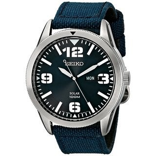 Seiko Men's Solar Sport SNE329 Blue Nylon Band Watch