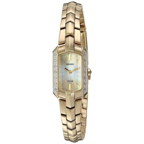Seiko Women's Tressia Solar Diamond Accent Dress SUP330 Gold-Tone Watch