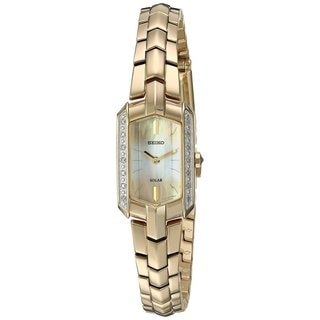 Seiko Women's Tressia Solar Diamond Accent Dress SUP330 Gold-Tone Watch