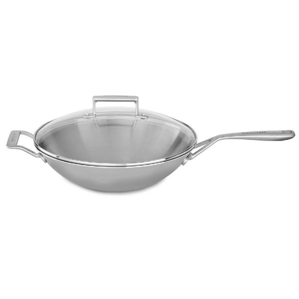 shop kitchenaid 13 tri ply stainless steel wok free shipping today rh overstock com
