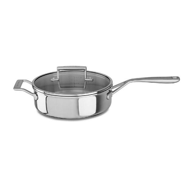 Shop Kitchenaid 3 5 Qt Tri Ply Stainless Steel Saute Pan