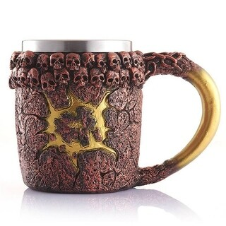 3D Design Skull Cup Creative Stainless Steel Bronze Monster Cup Double Wall Coffee Cup