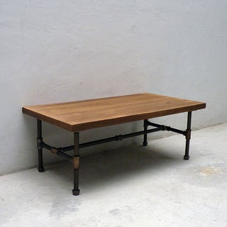 Corvallis Industrial Metal with Reclaimed Aged Wood Finish Rectangle Pipe Coffee Table