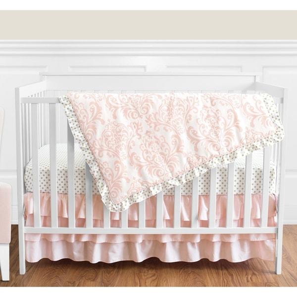 Sweet Jojo Designs Blush Pink Amelia Damask Collection 4-piece Bumperless Crib Bedding Set
