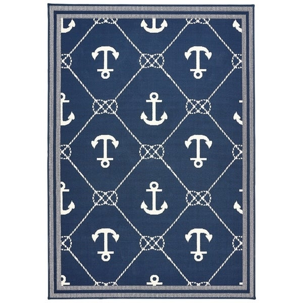 Blue White Nautical Anchor Area Rug 6 7 X 9 6 Free