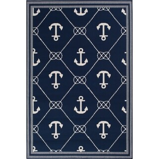 """Link to Navy Blue & Nautical White Anchor Indoor Outdoor Area Rug - 6'7""""x9'6""""x0.1"""" Similar Items in Rugs"""