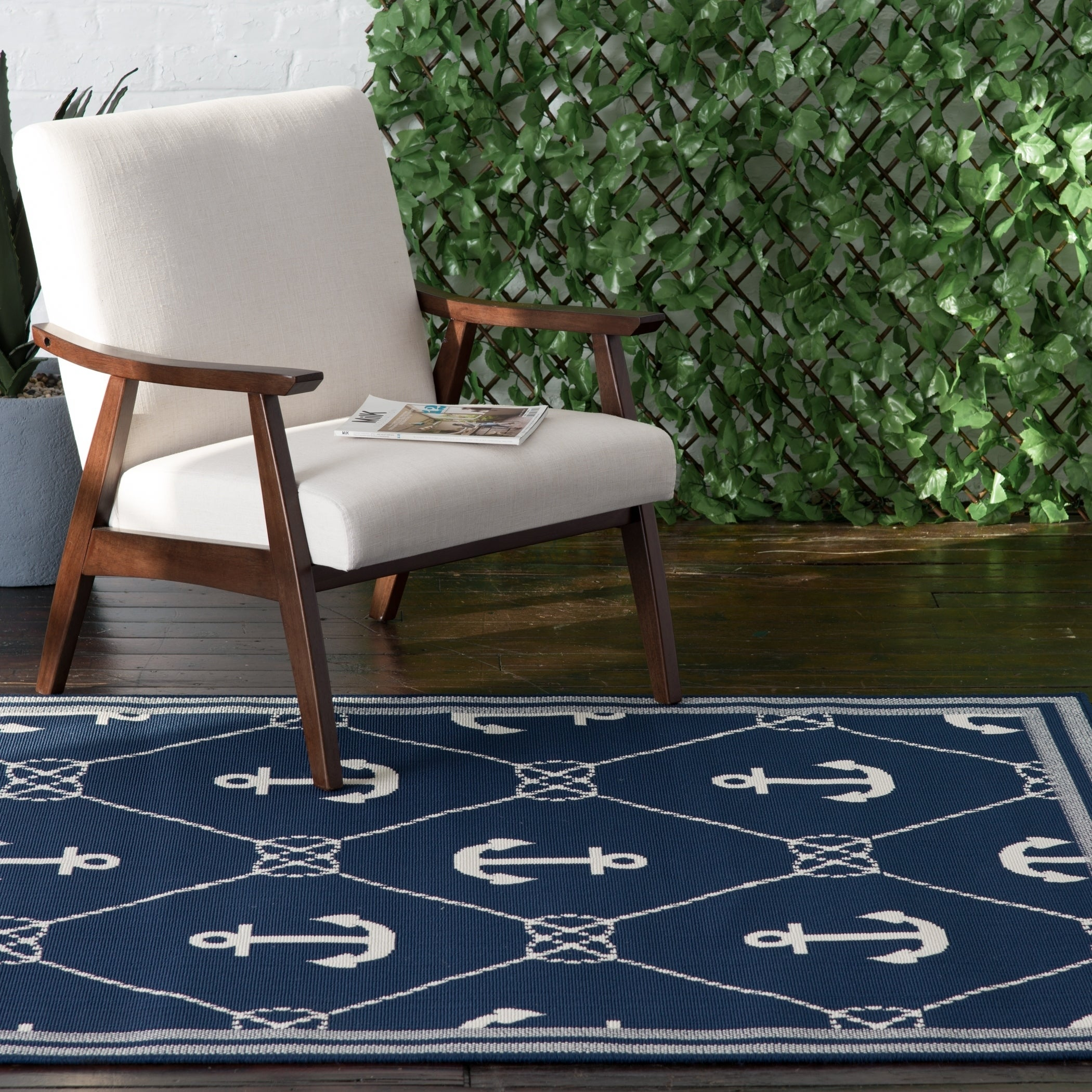 White Anchor Indoor Outdoor Area Rug