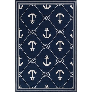 """Link to Navy Blue & Nautical White Anchor Area Rug - 7'10"""" x 9'10""""x0.1"""" Similar Items in Rugs"""