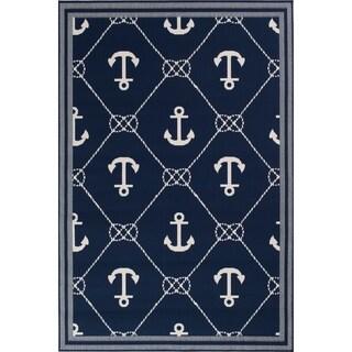 "Navy Blue & Nautical White Anchor Area Rug - 7'10"" x 9'10""x0.1"""