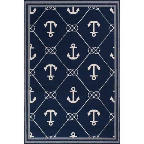 Navy Blue & Nautical White Anchor Area Rug - 5'3 x 7'1