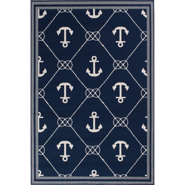 Navy Blue & Nautical White Anchor Area Rug - 5'3 x 7'1. Opens flyout.