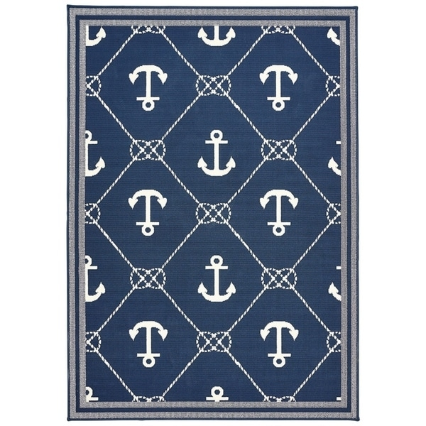 Shop Navy Blue Amp Nautical White Anchor Area Rug 5 3 X 7