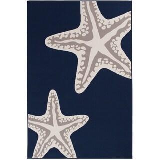 Sea Star Duo Navy/Grey/White Area Rug (6'7 x 9'6)