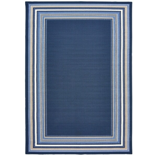 Shop Harold Navy Blue With Gray And White Border 5 X7 3 Quot X0 1 Quot Free Shipping Today