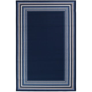 "Harold Navy Blue with Gray and White Border - 5'x7'3""x0.1"""
