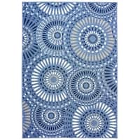"Lizbeth Blue & Navy Indoor Outdoor Area Rug - 7'10"" x 9'10""x0.1"""