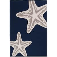 "Sea Star Duo Navy Gray & White Area rug - 5'x7'3""x0.1"""