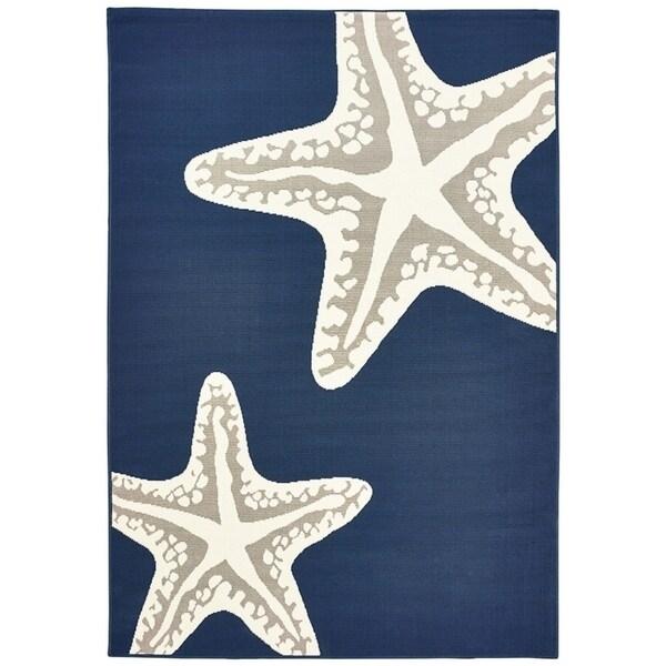 "Sea Star Duo Navy Gray & White Area rug - 5'x7'3""x0.1"""