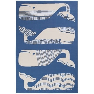 """Patterned Whales Blue & White Area Rug - 5'x7'3""""x0.1"""""""