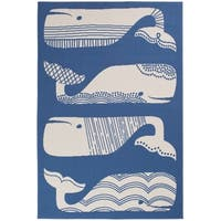 "Patterned Whales Blue & White Area Rug - 5'x7'3""x0.1"""