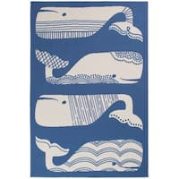 Blue/White Patterned Whales Nautical Area Rug (6'7 x 9'6)