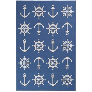 "Schooner Blue & White Area Rug - 5'x7'3""x0.1"""
