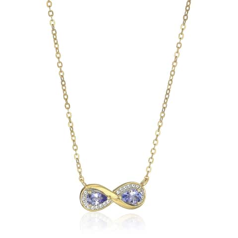 """Yellow Gold-Plated Silver Tanzanite Infinity Pendant Necklace, 18"""" - Blue"""