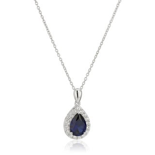 """Sterling Silver Created Blue Sapphire Pendant Necklace, 18"""""""