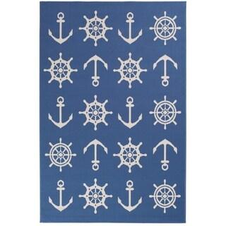 Schooner Blue/White Nautical Area Rug (6'7 x 9'6)