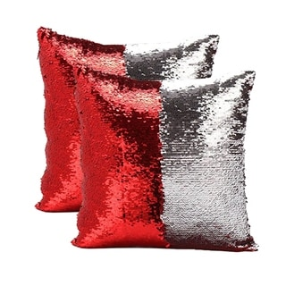Mermaid Sequin Throw Pillow Red/Silver (2-Pack)