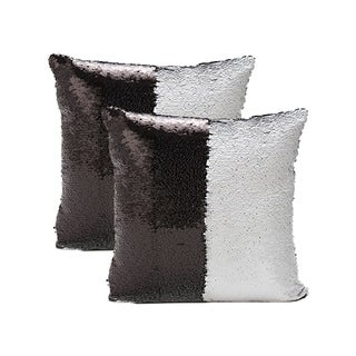 Mermaid Sequin Throw Pillow Silver/Black (2-Pack)