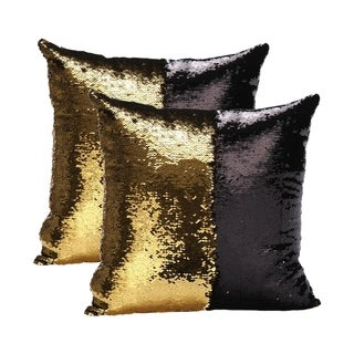 Mermaid Sequin Throw Pillow Gold/Black (2-Pack)