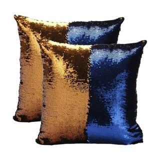 Mermaid Sequin Throw Pillow Gold/Blue (2-Pack)