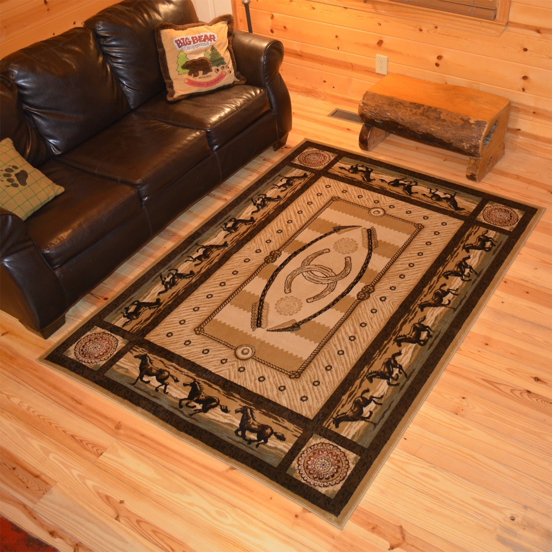 Rustic Lodge Cabin Western Horse Area Rug - 3\'11\