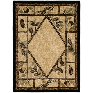 "Rustic Lodge Cabin Wooded Pine Cone Area Rug - 3'11"" x 5'3"""