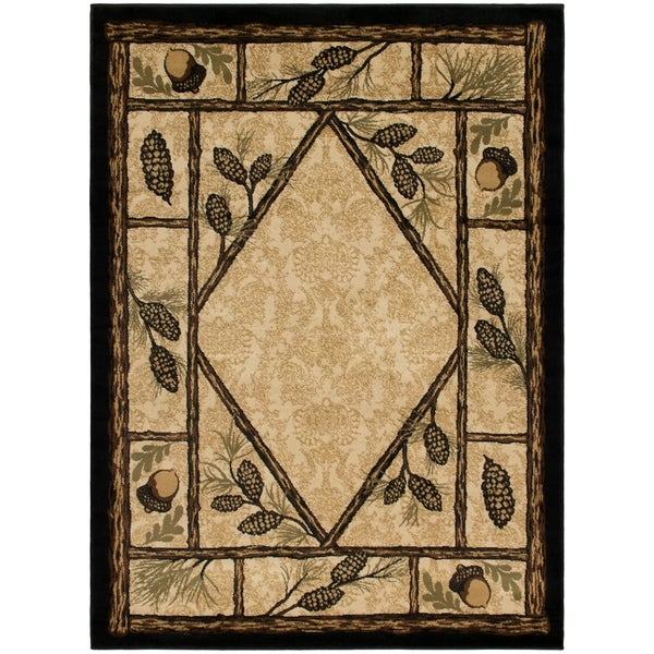 """Rustic Lodge Cabin Wooded Pine Cone Area Rug - 3'11"""" x 5'3"""""""