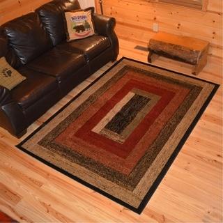 "Rustic Lodge Cabin Panel Stripes Multi Area Rug - 3'11"" x 5'3"""