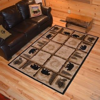 Rustic Lodge Cabin Black Bear Panel Ivory Area Rug Multi 3 11