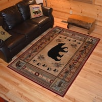 """Rustic Lodge Cabin Bear Fish Deer Red Multi Area Rug - 3'11"""" x 5'3"""""""