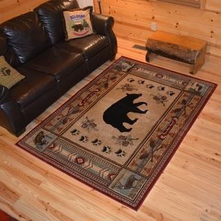 "Rustic Lodge Cabin Bear Fish Deer Red Multi Area Rug (3'11""x5'3"") - 3'11"" x 5'3"""