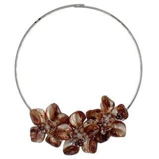 Bleek2Sheek Handmade Mother of Pearl Flower Trio Fashion Necklace Choker