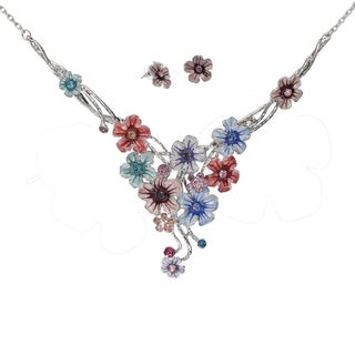 Bleek2Sheek Handpainted Cascading Enamel Flowers with Rhinestones Necklace and Earrings jewelry Set