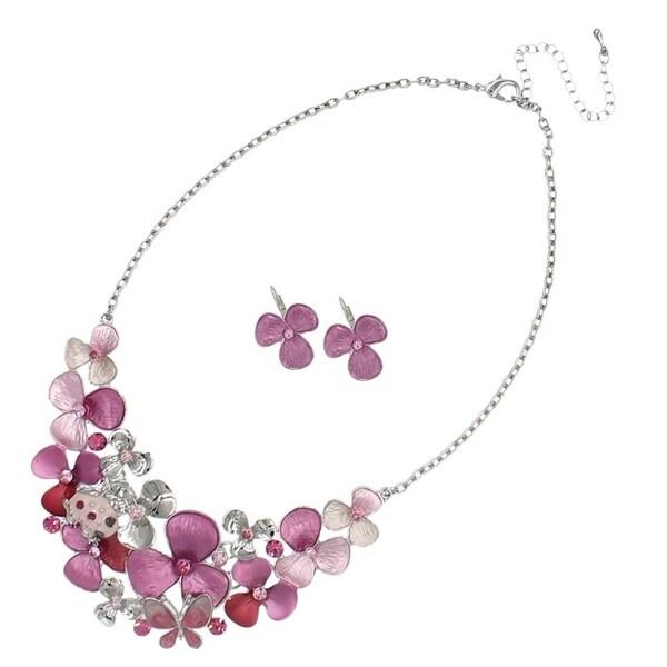 Bleek2Sheek Handpainted Flowers and Frog Enamel and Rhinestone Necklace and Earrings jewelry Set 29393572