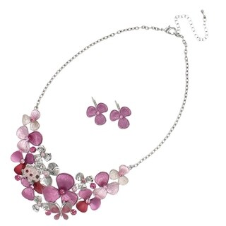 Bleek2Sheek Handpainted Flowers and Frog Enamel and Rhinestone Necklace and Earrings jewelry Set