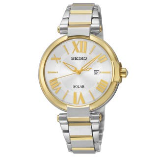 Seiko Women's Solar SUT174 Two-tone Roman Numeral Date Watch|https://ak1.ostkcdn.com/images/products/17684495/P23892274.jpg?impolicy=medium