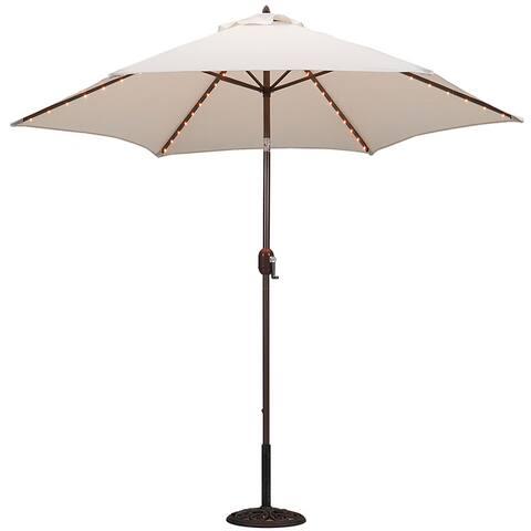 9-Foot Aluminum Thermometer/Lighted Umbrella w/Crank and Tilt