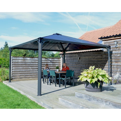 Palram Palermo 4300 13' x 13' Gazebo with Twin Wall Roof Panel and Aluminum Frame - Gray