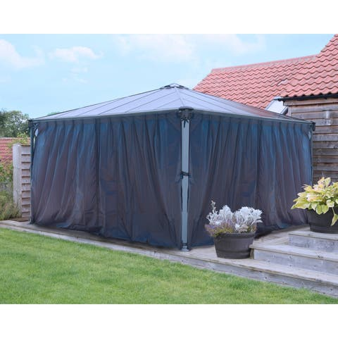 Palram Palermo 4300 14ft x 14ft Garden Gazebo Curtain Set Grey (4-Pc)