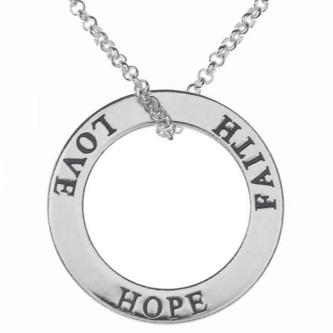Journee Collection  Sterling Silver Faith Hope Love Circle Necklace